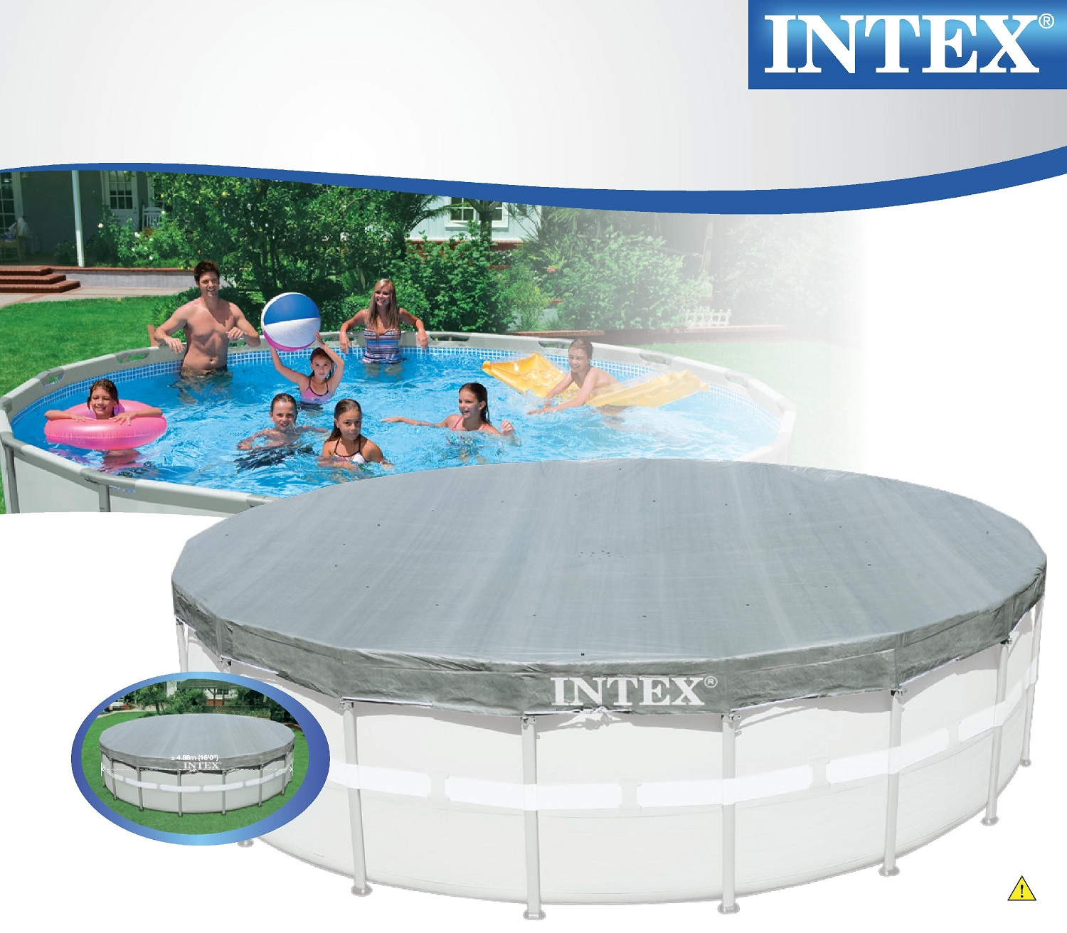 Intex 28040 swimming pool deluxe uv abdeckplane frame pool for Swimmingpool abdeckplane
