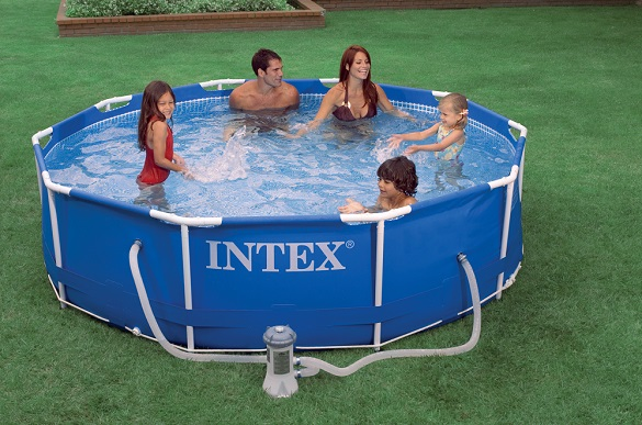 intex 28202 28212 aufstellpool frame pool set rondo blau mit pumpe schwimmbecke ebay. Black Bedroom Furniture Sets. Home Design Ideas