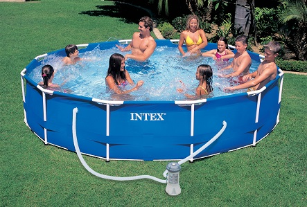 Intex 54942 gartenpool schwimmbecken metal frame pool for Gartenpool metall